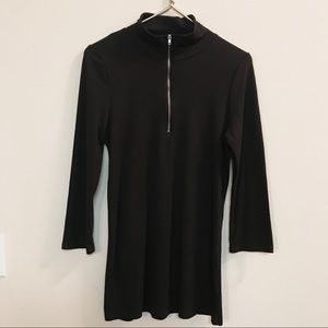 Cover Stitched Black Long Sleeve Dress with Zipper